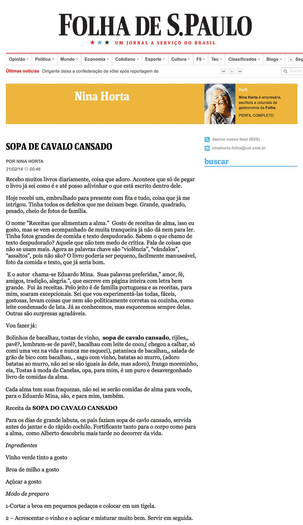 Nina Horta - Folha de São Paulo
